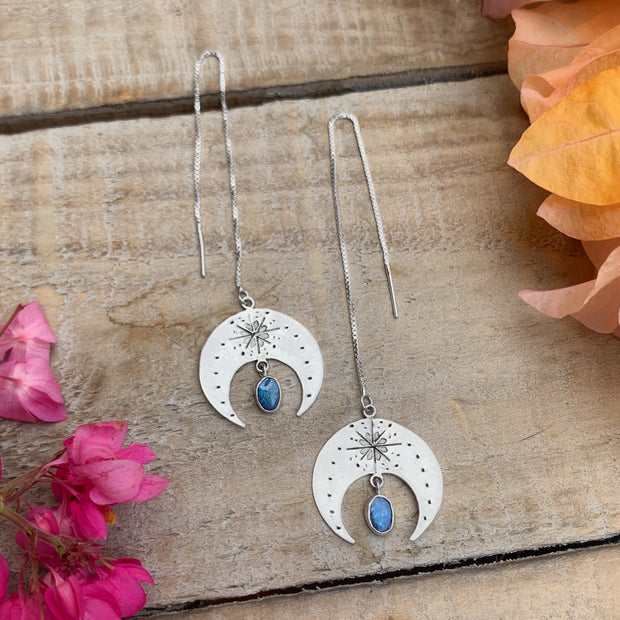 Made-to-order large hand-stamped moon threader earrings with fire opals