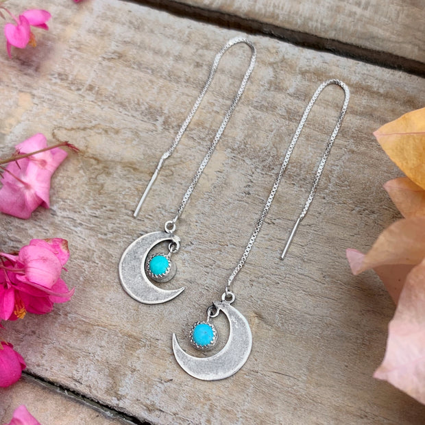 "Moon threader earrings with turquoise ""star"" dangle"