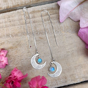 "Moon threader earrings with moonstone ""star"" dangle"