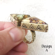 brass double triangle ring