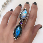 Marquise labradorite & moonstone ring with small round amethyst