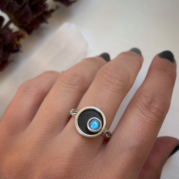 Made-to-order moonstone moon shadowbox ring