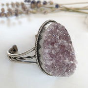 Amethyst druzy cuff with stamped bezel