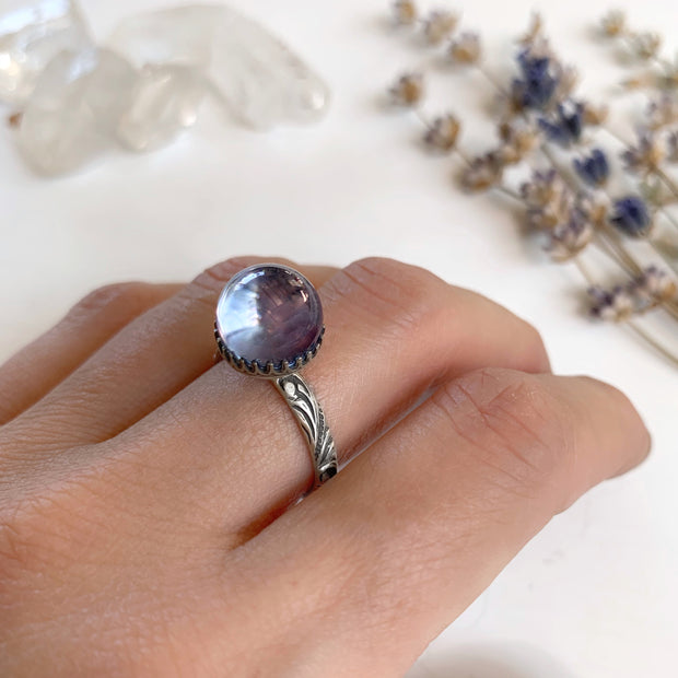 Aqua aura quartz crystal ball ring