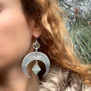Deposit on made-to-order stamped silver moon earrings with aqua quartz & fluorite