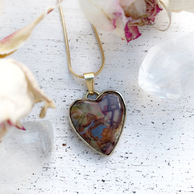 "Rare butterfly wing jasper heart necklace set in brass on a 16"" 14K gold-filled snake chain"