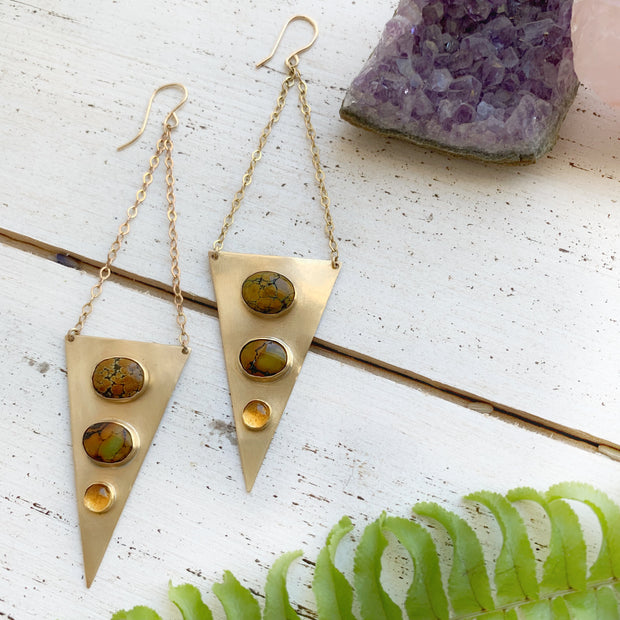 Brass, turquoise, and citrine triangle drop earrings
