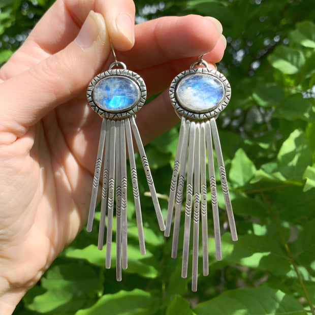 Rainbow moonstone dangle earrings with removable fringe