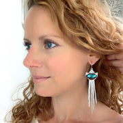 Labradorite dangle earrings with removable fringe
