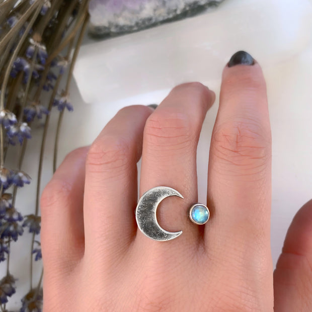 Made-to-order rainbow moonstone ring with crescent moon