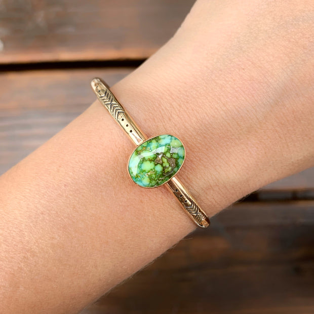 Stamped 14K gold turquoise cuff