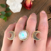 Made-to-order double-finger triple moon ring