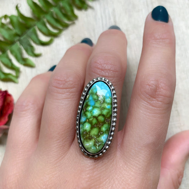 Sonoran Gold turquoise with dotted border for ring, cuff, necklace or hair fork