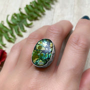 Polychrome Hubei turquoise in stamped bezel for ring, cuff, necklace or hair fork
