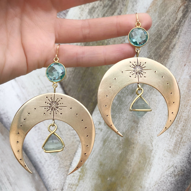 Made-to-order brass moon earrings with aqua quartz & fluorite