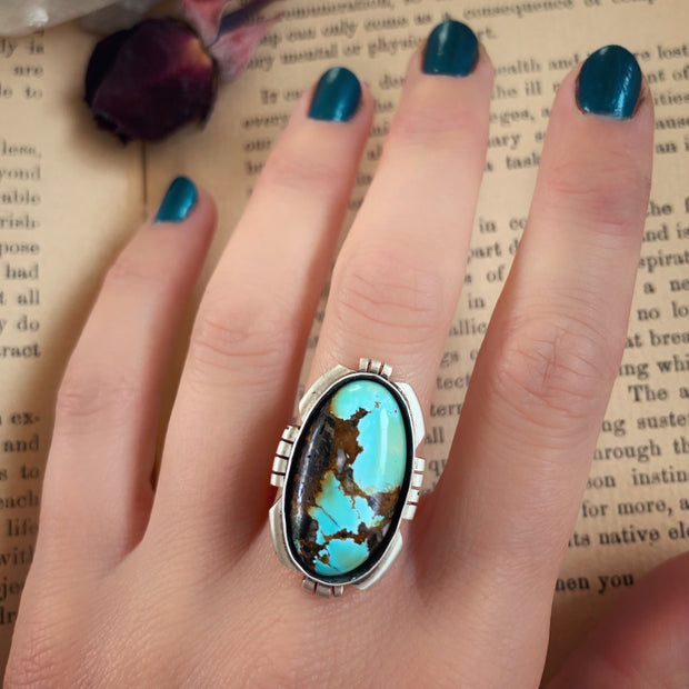 Hubei turquoise with cutout border for ring, cuff, necklace or hair fork