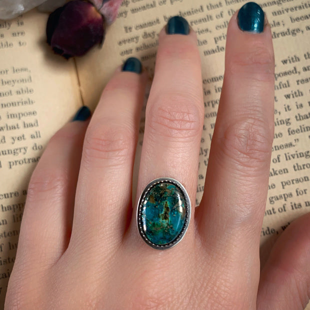 Morenci turquoise with pyrite specks for ring, cuff, necklace or hair fork