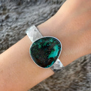 Faceted silver cuff with teal & black turquoise