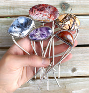 Stamped silver hair forks - Tiffany stone, dendritic opal, jasper, or lace agate