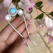 "Hand-stamped triple moon hair fork with moonstone - 4 1/2"" long"