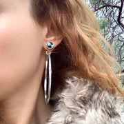 Poseidon variscite stud earrings with removable stamped hoops and fringe option