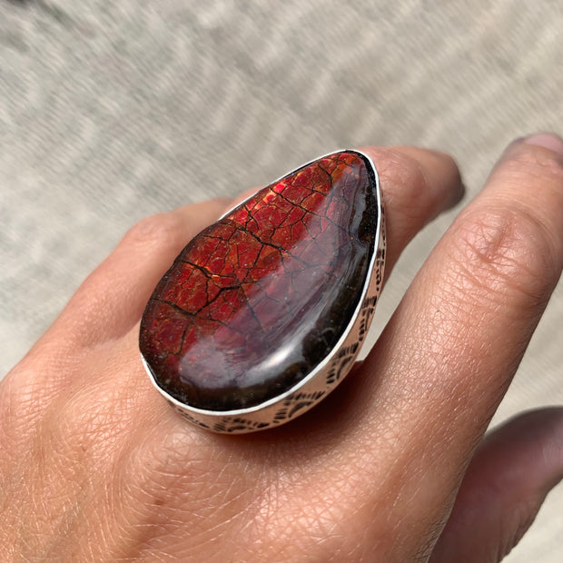 RESERVED FOR AMBER - Deposit on ammolite ring in silver