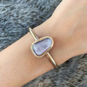 14K gold-fill stacking cuff with rare flashy lepidolite