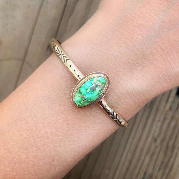 Stamped 14K gold-fill stacking cuff with Sonoran Gold turquoise