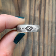 Stamped sterling silver unisex ring - size 8