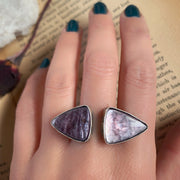 Rare lepidolite ◀︎▶︎ ring in silver finished in your size
