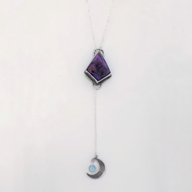 Sugilite & moonstone lariat necklace in silver