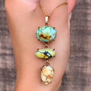 Cascading turquoise necklace in 14K gold-fill