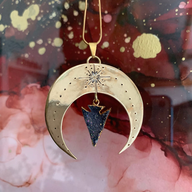Shipping for stamped brass moon necklace with titanium druzy arrowhead dangle