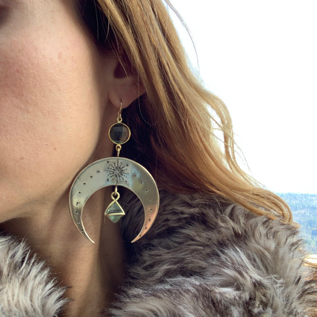 Stamped brass moon earrings with faceted green amethyst & fluorite