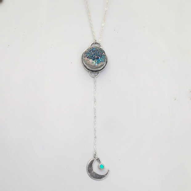 Druzy & opal lariat necklace in silver