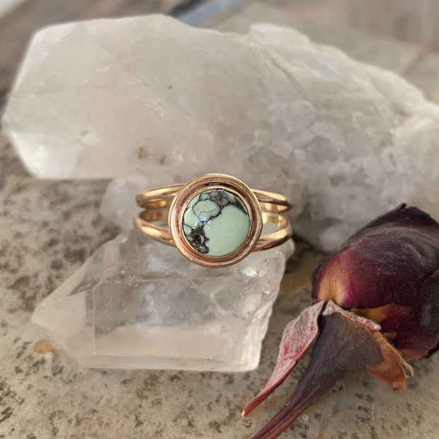 RESERVED FOR LYNN - Poseidon Variscite ring in 14K gold-fill