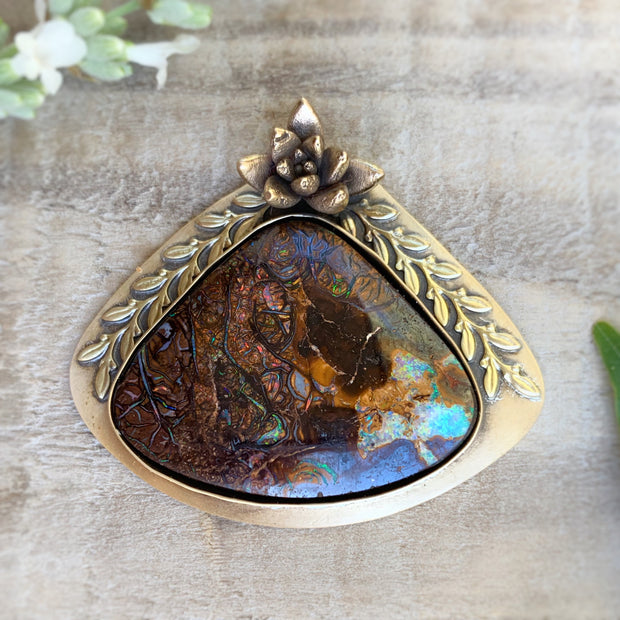 Australian boulder opal necklace OR cuff with brass vines and cast flower