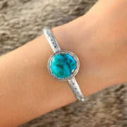 Stamped silver stacking cuff with blue turquoise