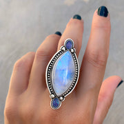 Marquise moonstone and fire opal ring or necklace