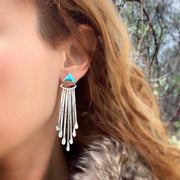 Turquoise triangle stud earrings with removable stamped fringe ear jacket
