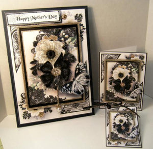 Black & White Bows and Butterflies 3D Multi-Occasion Greeting Card