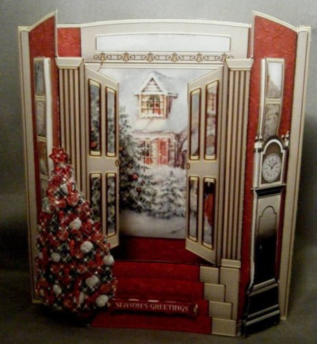 3D Front Opening Christmas Door - White Christmas