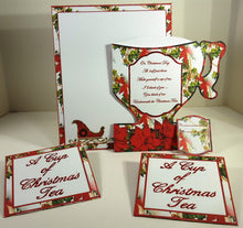 Vintage Christmas Teacup, Tea Bags and Tag