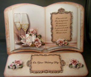 Open Book Easel Card for Wedding, Anniversary or Engagement