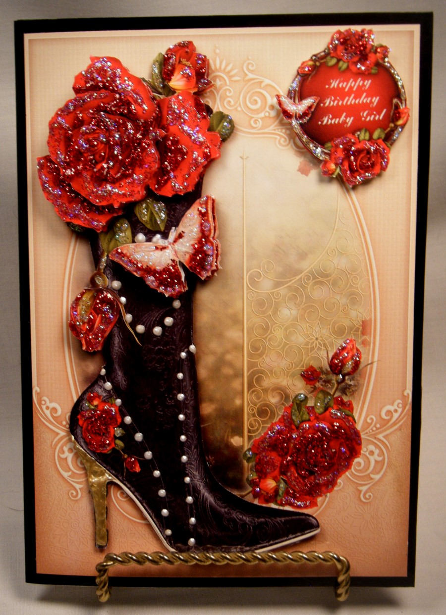 Beautiful Black Boot & Red Roses for Her Multi-Occasion Greeting Card - Item # MLT006