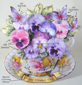Cup of Pansies, Top Fold, Free Standing Multi-Occasion Card