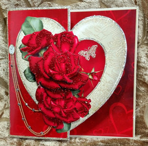 Valentine Roses - Offset Gold Heart Valentine/Multi-Occasion Card