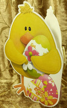 Easter Chick with Colored Eggs Shaped Card