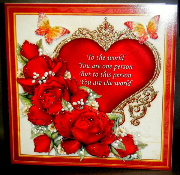 Multi-Occasion Greeting Card - Red Roses over Ornate Heart