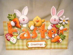 3D Over The Top Bunny Easter Wishes - ITEM # ESTR004